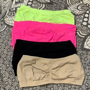 Neon yellow, hot pink, Black and Tan Bandeaus